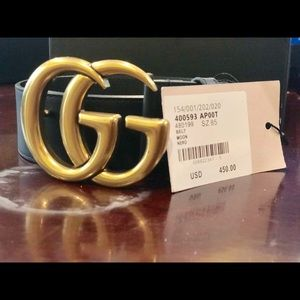 Authentic GG leather brass belt
